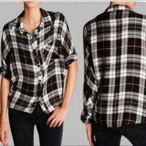 Rails black plaid flannel top